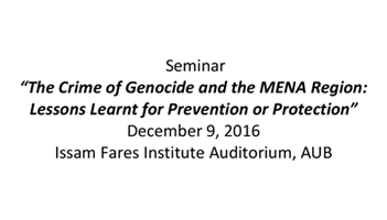 Seminar: The Crime Against Genocide and the MENA Region